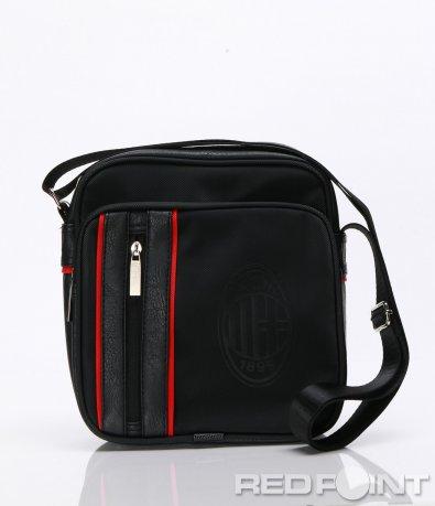 Черна чанта с червен кант 6626