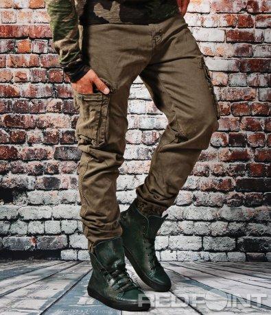 Спортен дълъг карго панталон с ластици 6665