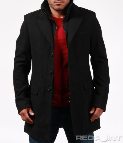 Черно елегантно палто 6650