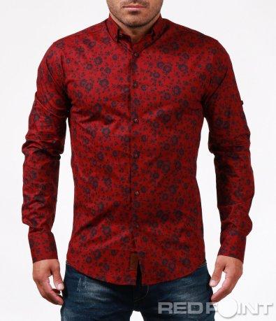 Риза в цвят бордо с принт 6733