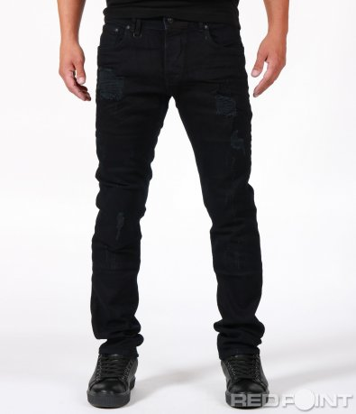 Черен дънков панталон с кръпки 6714