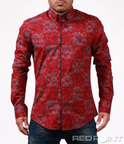 Ефектна риза  с геометричен десен 6704