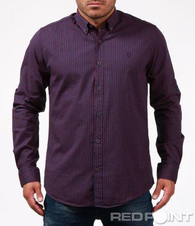 Карирана риза в цвят бордо 6707