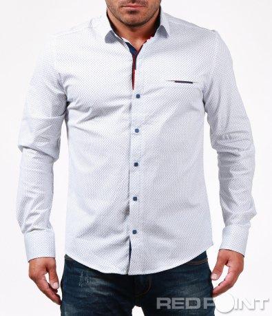 Бяла спортно-елегантна риза 6742