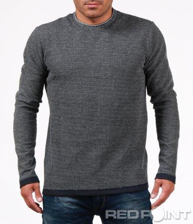 Сива блуза с меланжиран десен 6747