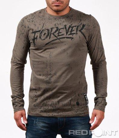 Стилна блуза с ефект и надпис 6757