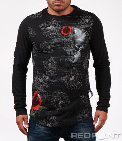 Атрактивна блуза с щампи и декорации 6758