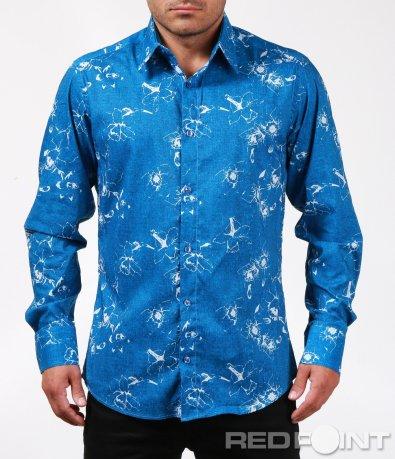 Синя риза с флорален принт 6789