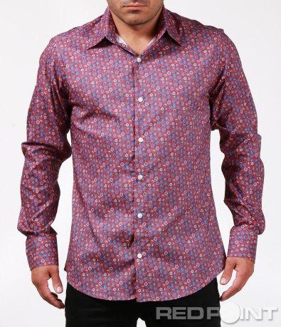 Вталена риза с флорален десен 6791