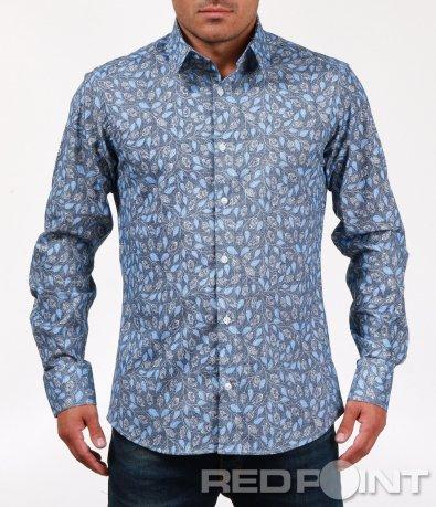 Стилна риза с десен на листа 6802