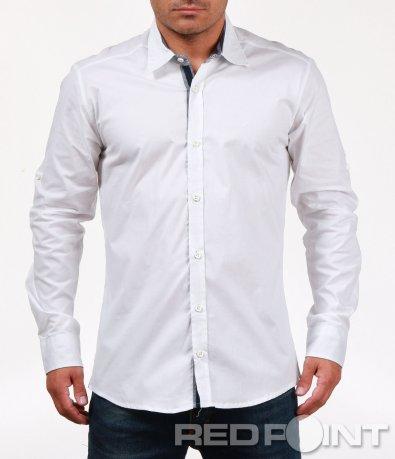 Изчистена бяла риза с цветен кант 6806