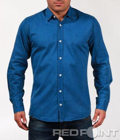 Синя спортна риза тип деним 6807