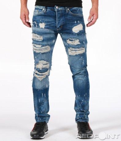Екстравагантни сини накъсани дънки 6814