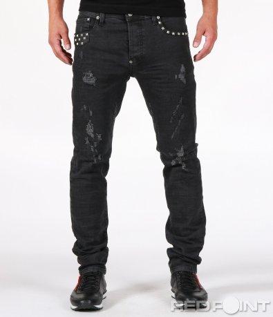 Черни дънки с кръпки и капси 6816