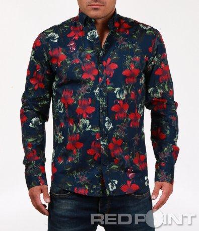 Ефектна риза с флорален десен 6822