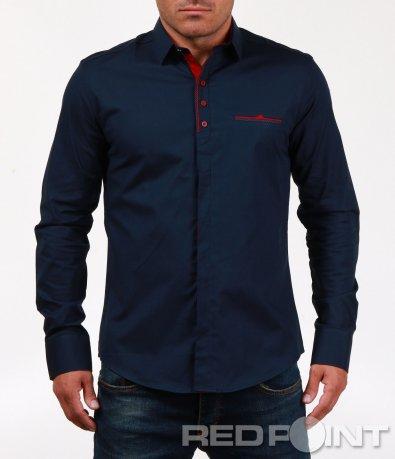 Тъмно синя риза с червени детайли 6828