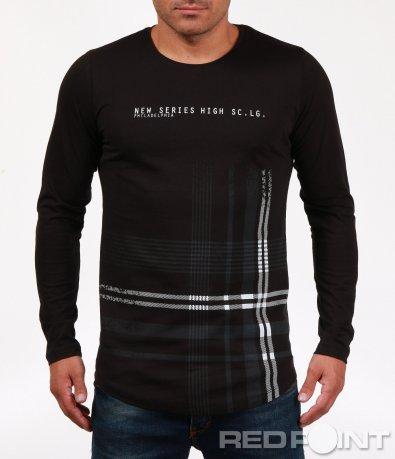 Черна тениска с дълъг ръкав 6845