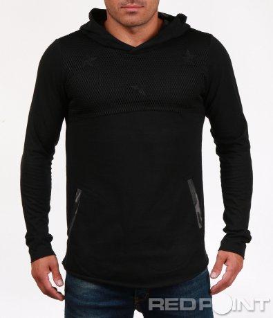 Спортна черна блуза с качулка 6847