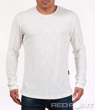 Бяла блуза с ромбоидни мотиви 6848