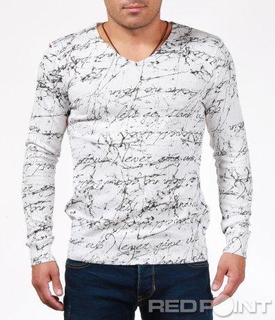 Втален пуловер с щур принт 6862