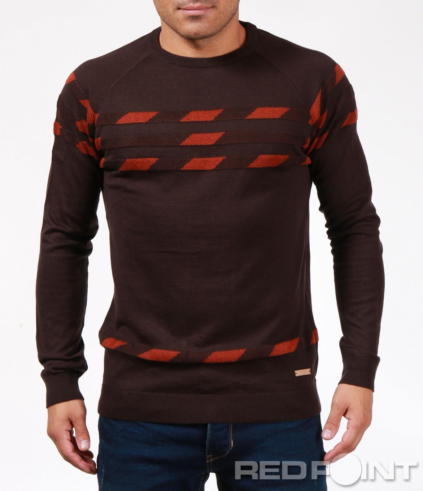 9fa9bb302fd Кафяв пуловер с декорация 6877 - Red Point Варна