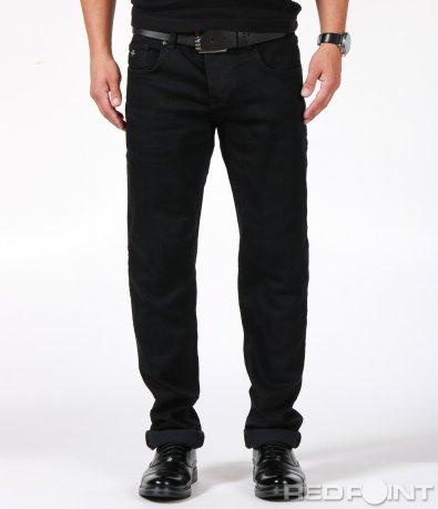 Черен дънков панталон с колан 6888