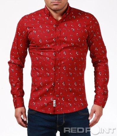 Ярко червена риза с принт 6898