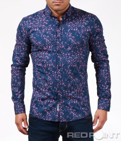 Синя риза с розов мотив 6899