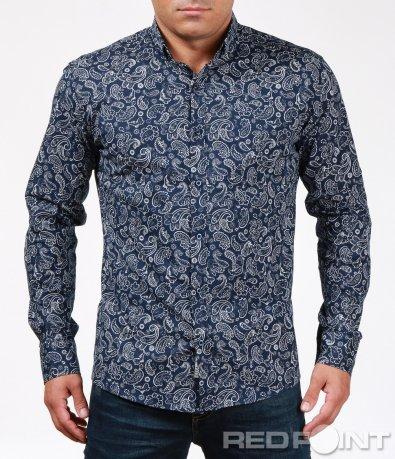 Интересна синя риза с орнаменти 6901