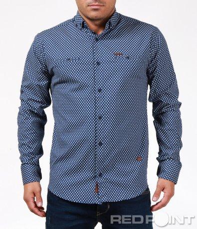 Актуална риза в син цвят 6880