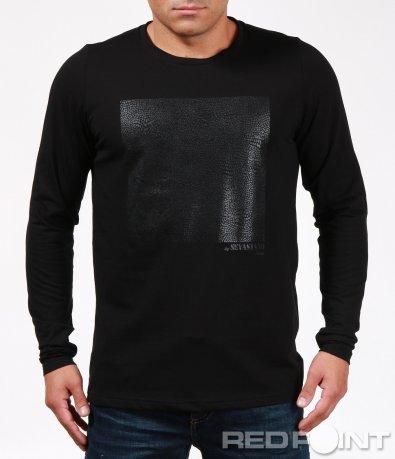 Черна вталена блуза с щампа 6913