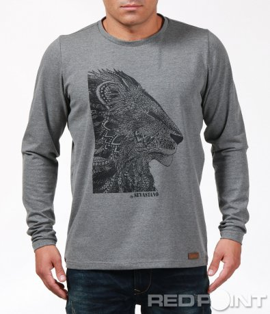 Сива блуза с щампа лъв 6941