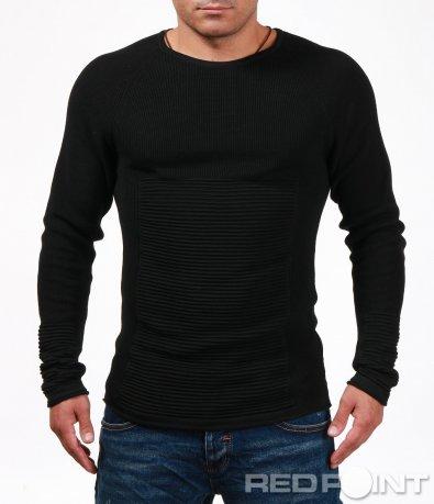 Втален пуловер с релефен акцент 6988
