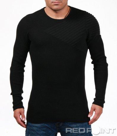 Пуловер с А-симетрична декорация 6989