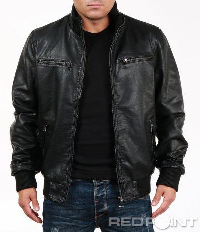 Черно кожено яке с джобове 6990