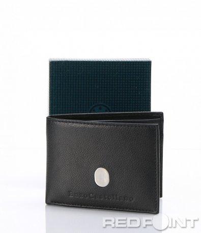 Черно портмоне от естествена кожа 6999