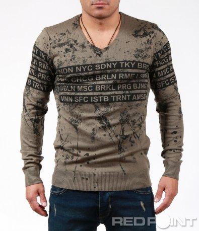 Впечатляваща блуза с пръски и надписи 6844