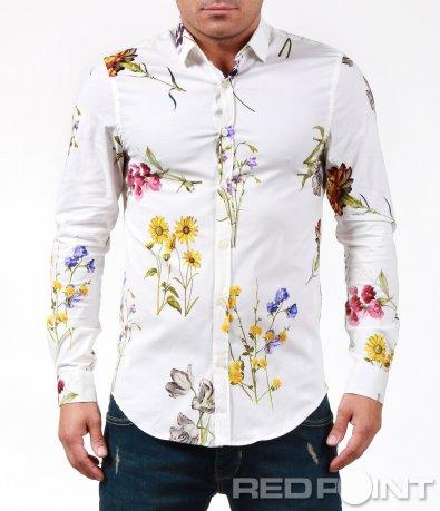 Бяла риза с флорални елементи 7013