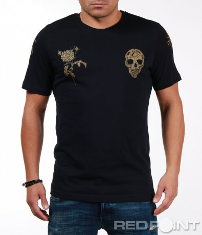 Тениска със златисти апликации 6754