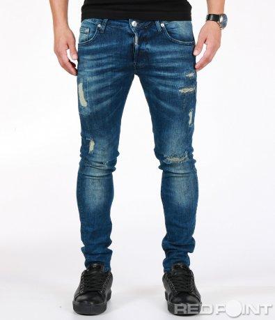 Вталени сини дънки с кръпки 7015