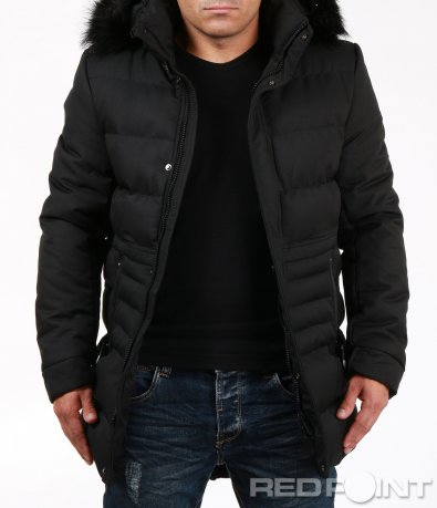 Класическо зимно черно яке 7057