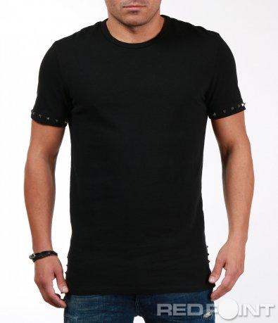 Long fit тениска с декоративни шипове 7070