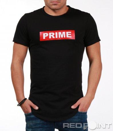 Стилна черна тениска с надпис 7089