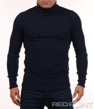 Блуза тип поло в тъмен цвят 7134