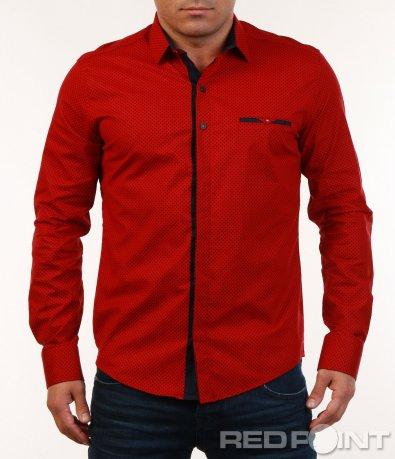 Червена риза със ситни елементи 7137