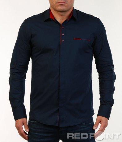 Ефектна риза с червени копчета 7138