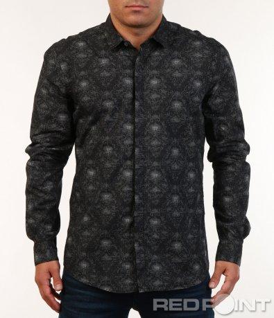 Мъжка черна риза с ефект 7148