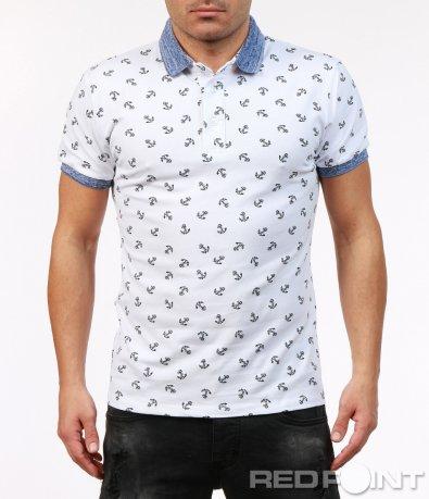 Тениска с яка в стилен дизайн 7230