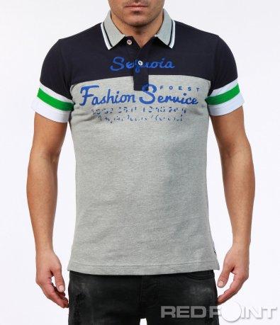 Тениска с яка в два цвята 7251