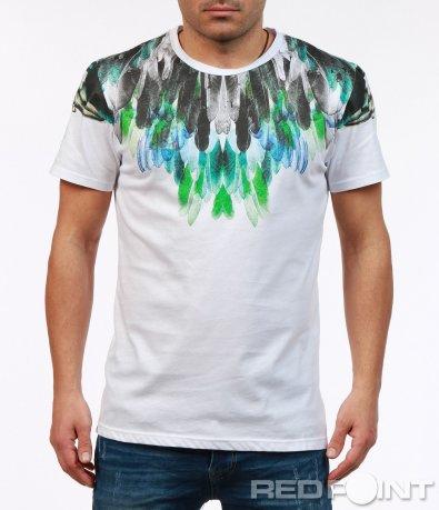 Тениска с цветна декорация от пера 7258